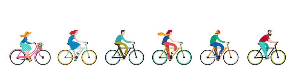 People riding on bicycles in the park, active family vacation Papier Peint
