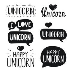 Unicorn. Vector hand drawn set lettering illustration on white background.