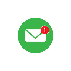 Phone icon, one missed message, email sign, white on green background. Vector flat illustration.
