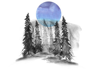 Watercolor banner, logo, postcard. Black silhouette of the forest, pine, spruce, cedar. Watercolor landscape, blue splash of paint, abstract spots, beautiful drawing. Blue moon, full moon, night.