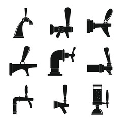 Beer tap icons set. Simple illustration of 9 beer tap vector icons for web