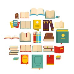 Book icons set. Flat illustration of 25 book vector icons isolated on white background