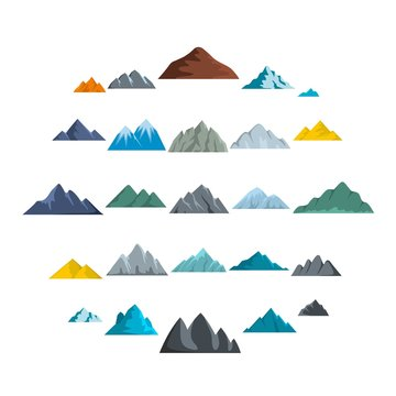 Mountain icons set. Flat illustration of 25 mountain vector icons isolated on white background