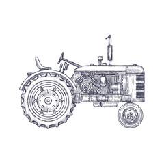 Vintage agricultural tractor, sketch. Hand drawn Vector