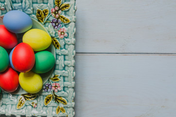 Easter eggs in plate