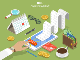 Bills online payment flat isometric vector concept of mobile payment, shoping, banking.