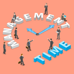 Time management flat isometric vector concept of planning, organization of working time.