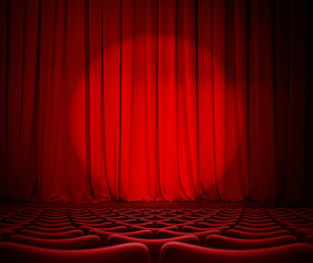 theater red curtains and seats 3d illustration