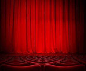 theatre red curtain on stage with velvet seats 3d illustration