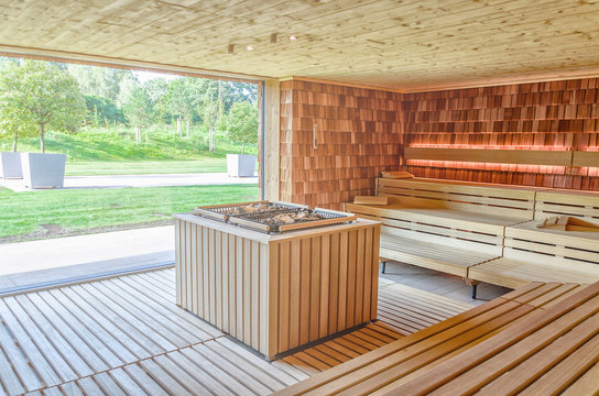Dry Finnish sauna with double oven and large panoramic window
