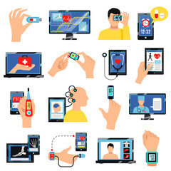 Digital Healthcare Technology Icons Set