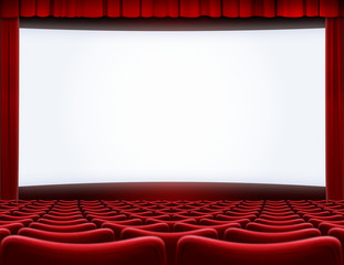 open movie screen in cinema theater 3d illustration