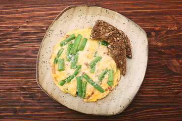 Scrambled eggs with green beans and toast, healthy and nutrition