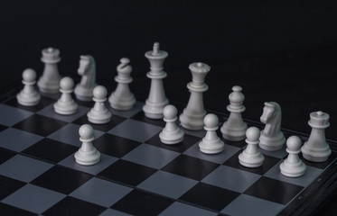 White chess figures on board. White chess set in order for game start.