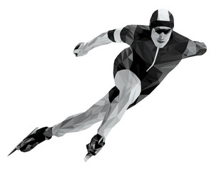 athlete skater in speed skating black and white low poly