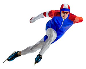 athlete skater in speed skating low poly color silhouette
