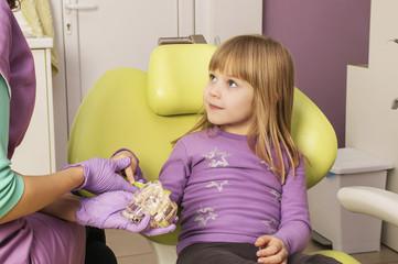 Dentist teaching cute girl about oral hygiene