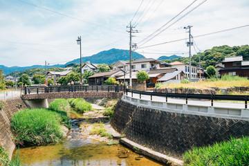 Japanese countryside village scenery in Fukuoka Wall mural