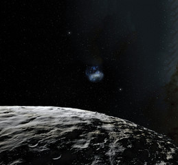 Moon surface. Realistic 3d render of moon and space. Space and planet. Satellite. Nebula. Stars. Elements of this image furnished by NASA.