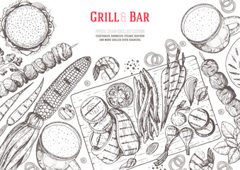 Grill and bar menu design template. Grilled meat and vegetables top view frame. Vector illustration. Engraved design. Hand drawn illustration. Pub food poster. Food on the grill