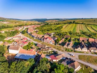 Traditional Saxon Village Crit - Kreuz (Detschkrets) in Transylvania, Romania aerial view