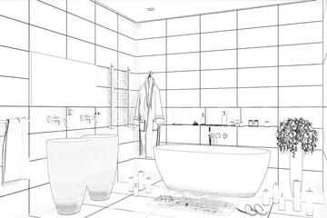 3d illustration. Bathroom sketch