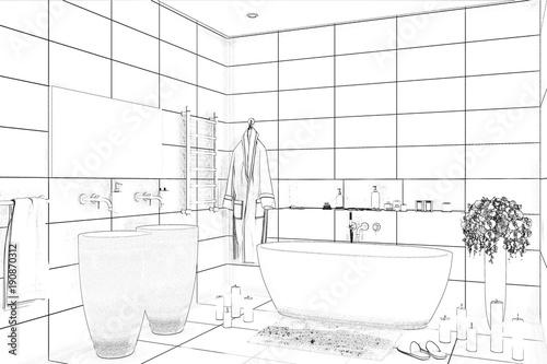 3d Illustration Bathroom Sketch