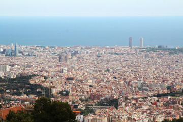 The view of Barcelona from Montjuic fort