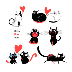 Vector set of enamored cats