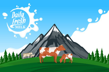 Vector milk illustration with mountain landscape