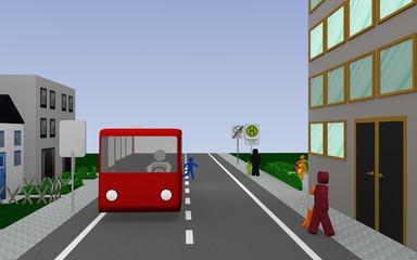 Straße mit Schulbushaltestelle mit deutschem Text: Schulbus werktags, Bus und Fußgängern. 3d render
