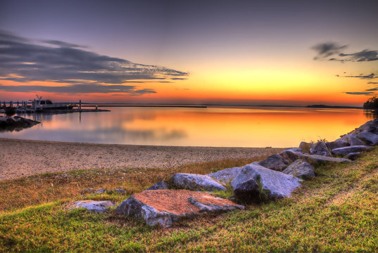 The romantic sunset at the Kings Mill marina in Williamsburg Virginia