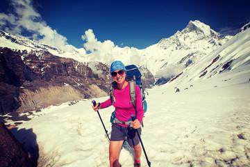 Trekker on the way to Annapurna base camp, Nepal