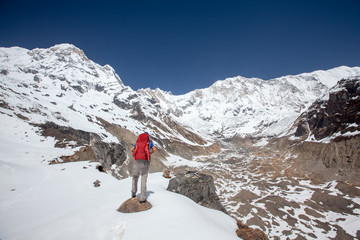 Trekker on the way to Annapurna base camp, Nepal