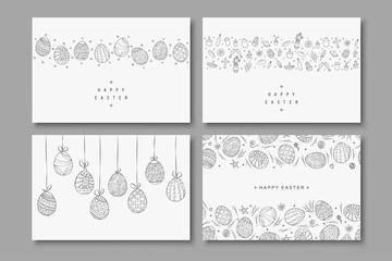 Collection of happy easter cards. Hand drawn easter covers in doodle style. Holiday backgrounds