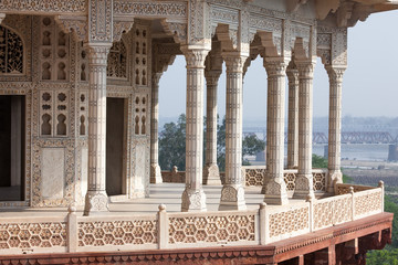 Spoed Foto op Canvas Monument Interior elements of the Red Fort in Agra, India