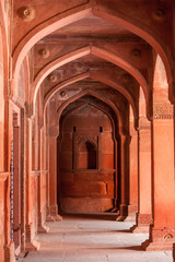 Interior elements of the Red Fort in Agra, India
