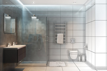 3d illustration. Sketch of a shower to become a real interior
