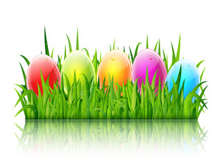 Happy Easter greeting card with colorful glass eggs on green grass