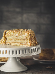 cake - Napoleon (cake with white cream is layered)