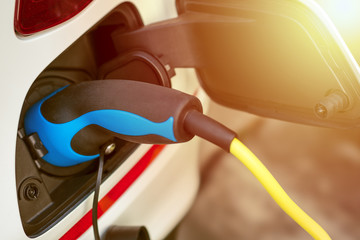 EV or Electric Vehicle Charging Energy From Charging Cable