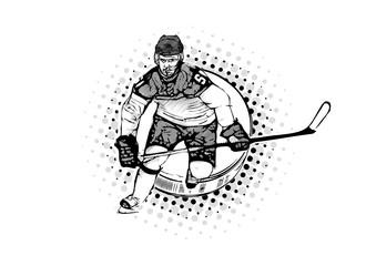 ice hockey player vector illustration