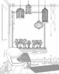 3d illustration. Sketch of a cozy balcony