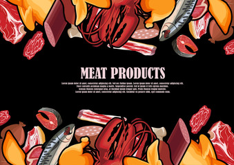 A variety of meat products painted in a frame