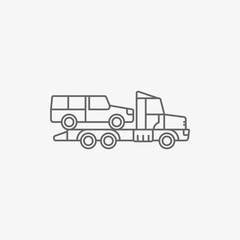 wrecker truck with evacuated car vector icon