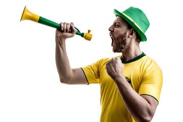 Brazilian male fan celebrating on white background