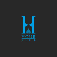 Capital letter H monogram logo, concept time symbol, minimal style simple identity initial, creative blue hourglass shape
