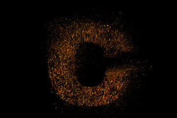 English alphabet with beautiful light during night, black background