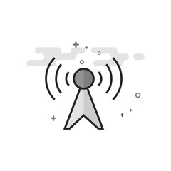 Podcast icon in flat outlined grayscale style. Vector illustration.