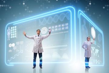 Team of doctor in remote diagnostics examination concept